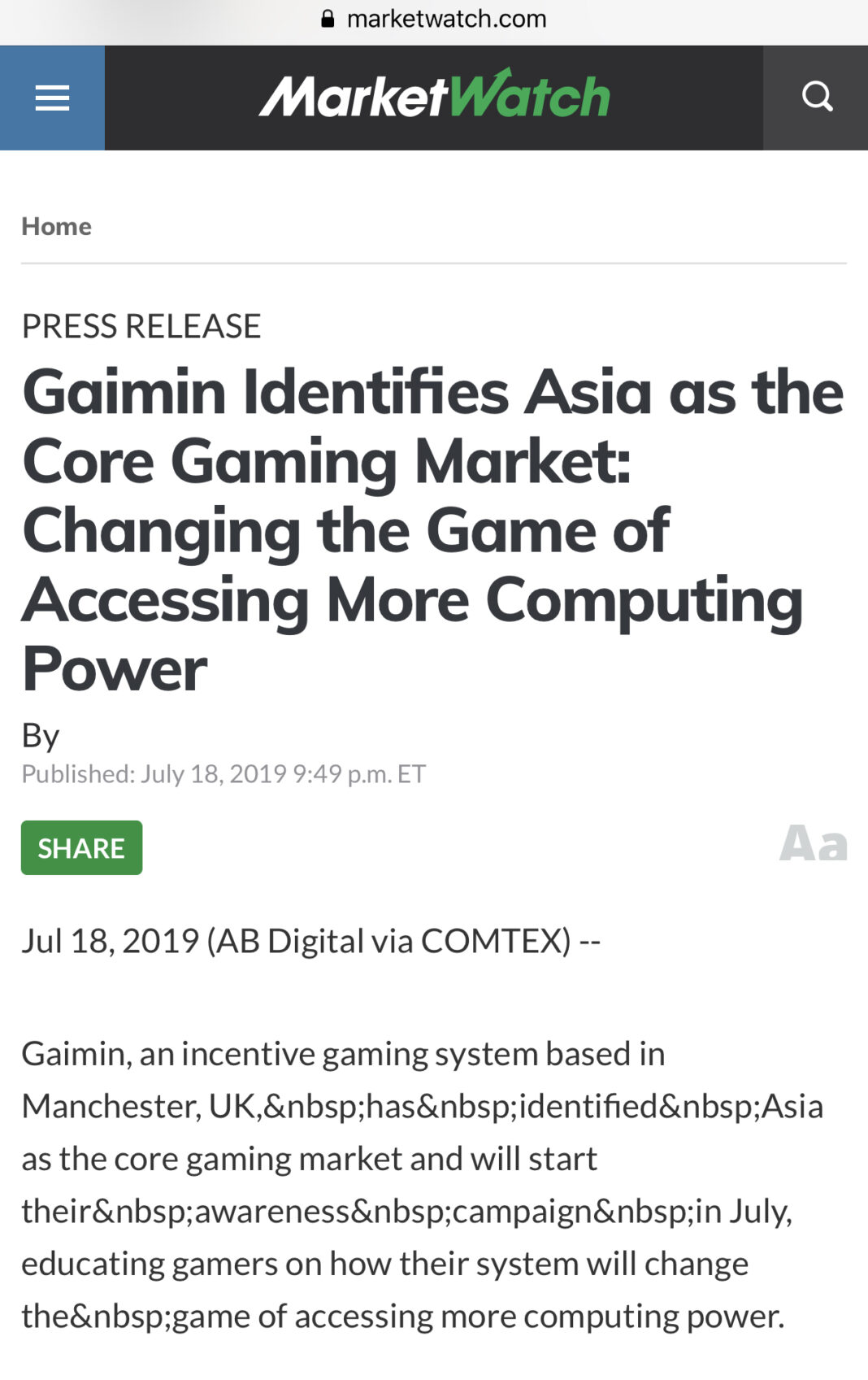 ", MARKETWATCH News coverage on ""Gaimin Identifies Asia as the Core Gaming Market: Changing the Game of Accessing More Computing Power"", Blockcast.cc"