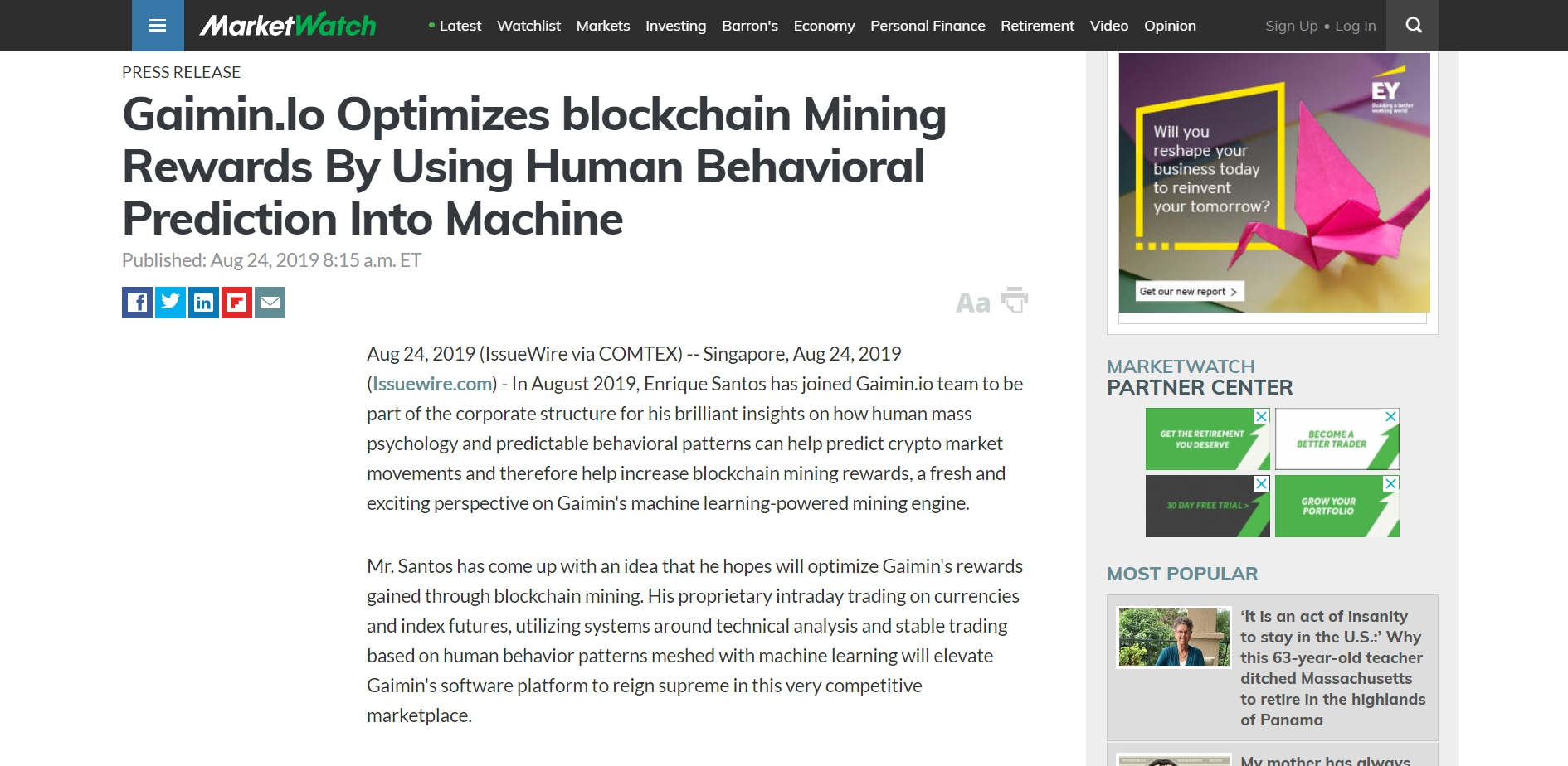 Market Watch: Gaimin Io Optimizes blockchain Mining Rewards
