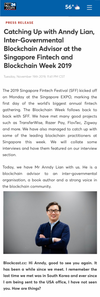 , Fox News: Catching Up with Anndy Lian, Inter-Governmental Blockchain Advisor at the Singapore Fintech and Blockchain Week 2019, Blockchain Adviser for Inter-Governmental Organisation | Book Author | Investor | Board Member